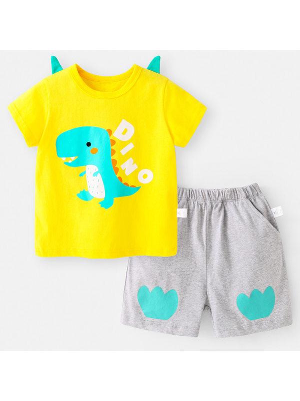 【12M-7Y】Boys Cotton Dinosaur Print Short-sleeved T-shirt Shorts Suit