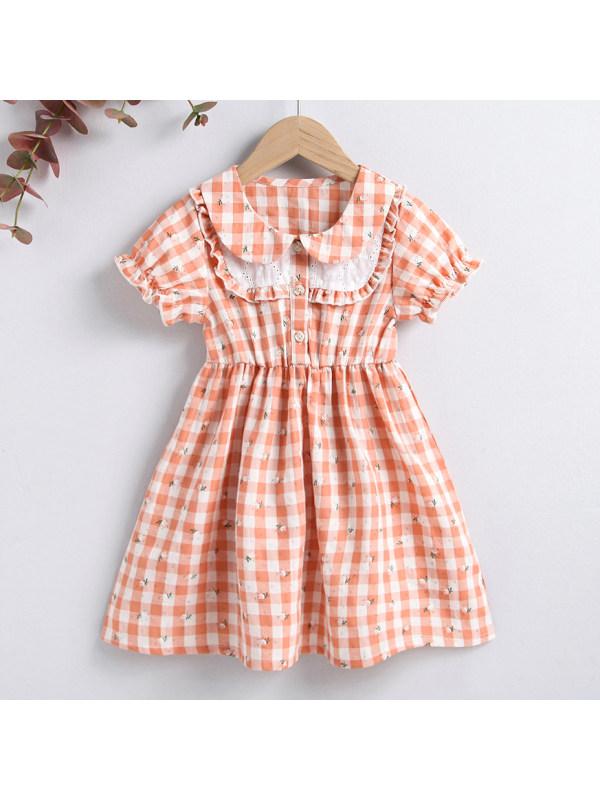 【18M-7Y】Sweet Plaid and Flower Printed Dress