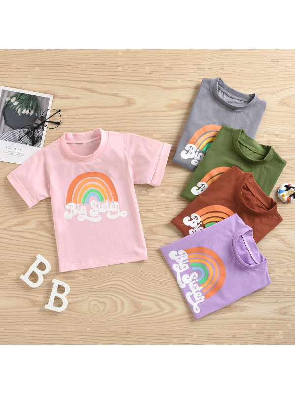 【12M-5Y】Girls Casual Rainbow Print Short-sleeved T-shirt