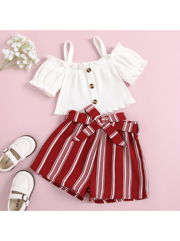 【18M-7Y】Sweet Off The Shoulder White Top and Red Striped Shorts Set
