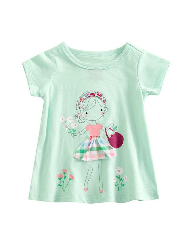 【3M-3Y】Girls Cotton Soft Short-sleeved T-shirt