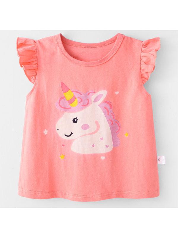 【12M-7Y】Girls Cute Unicorn Print Sleeveless T-shirt