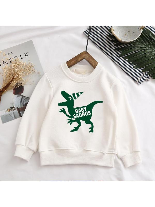 【12M-7Y】Boys Round Neck Dinosaur Casual Fashion Sweatshirt