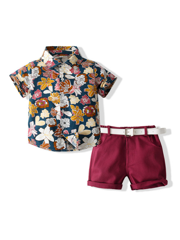 【18M-7Y】Boys Floral Short Sleeve Shirt Shorts Set