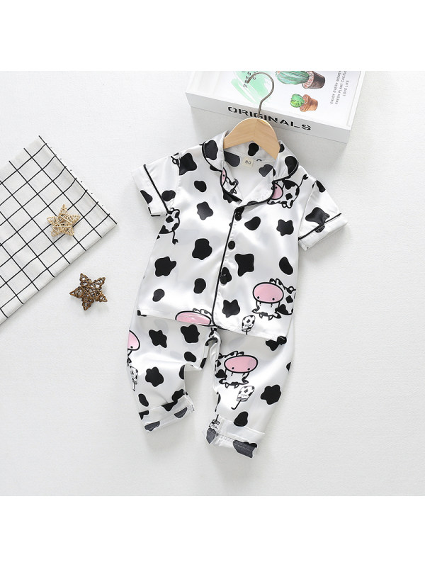 【12M-4Y】Girls' Cartoon Print Short-sleeved Blouse And Trousers Two-piece Suit
