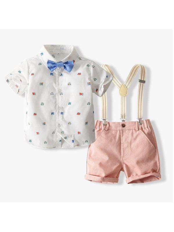 【18M-7Y】Boys Car Print Shirt Overalls Suit