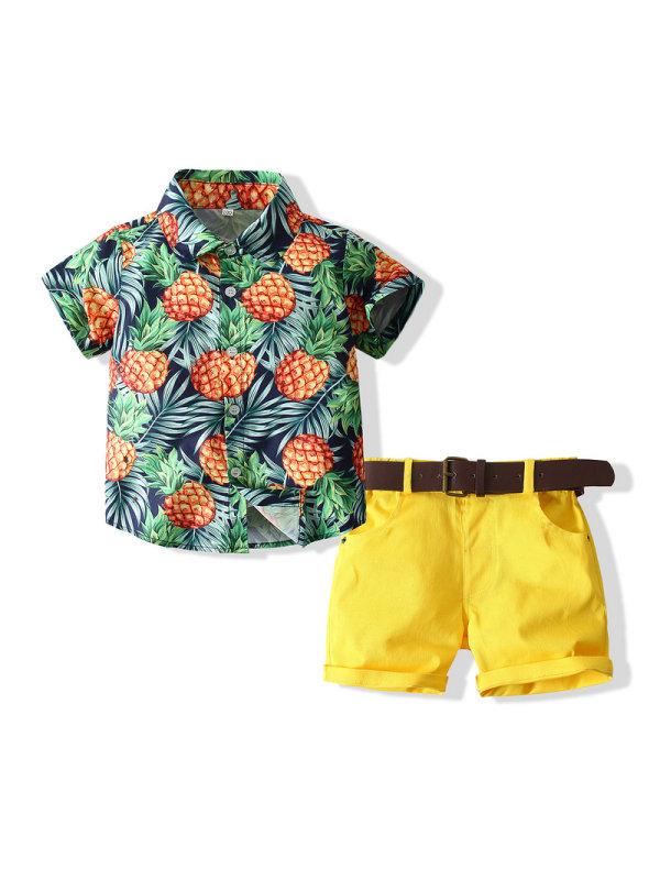 【18M-7Y】Boys Pineapple Print Shirt Shorts Suit