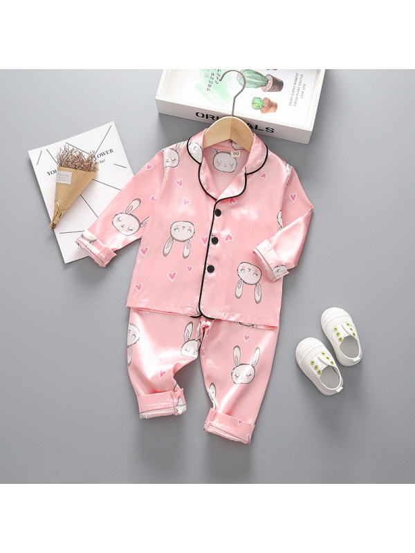 【12M-4Y】Girls Cartoon Print Long-sleeved Top And Trousers Two-piece Suit
