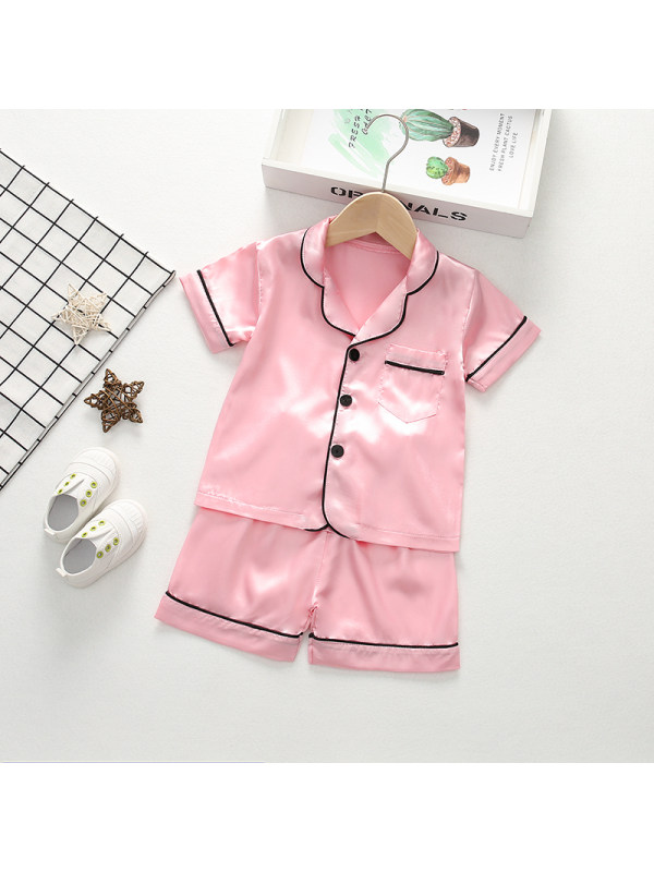 【12M-4Y】Girls' Lapel Solid Color Short-sleeved Shorts Home Service Two-piece Suit
