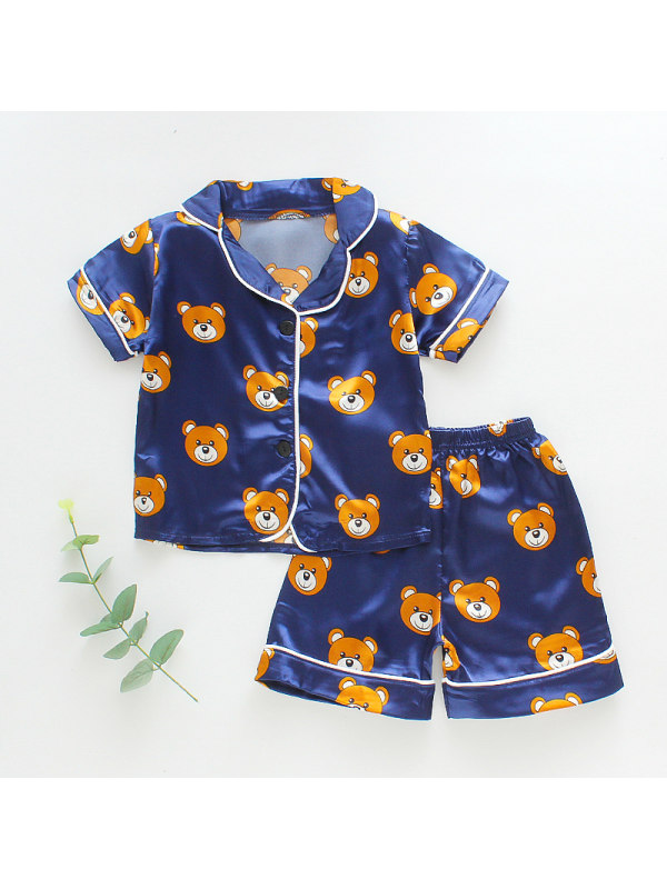 【12M-4Y】Girls Cartoon Print Lapel Short-sleeved Top And Shorts Two-piece Suit