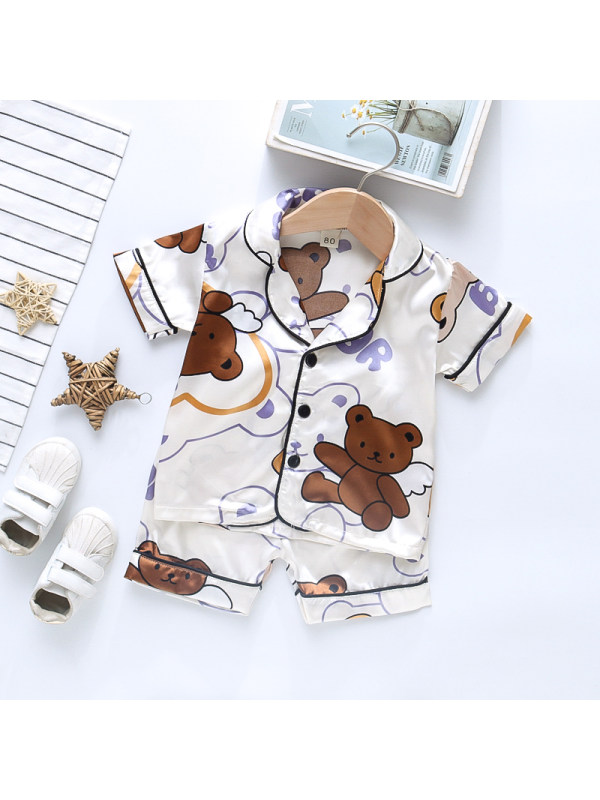 【12M-4Y】Boy's Cartoon Print Short-sleeved Top And Shorts Two-piece Suit