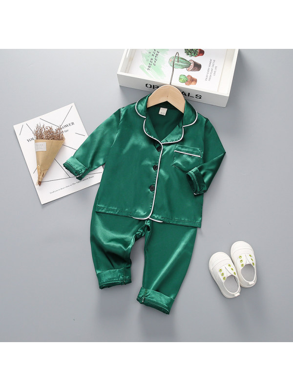 【12M-4Y】Girls' Plain Long-sleeved Top And Trousers Home Service Two-piece Suit