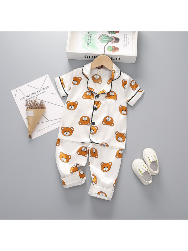 【12M-4Y】Boy's Cartoon Print Short-sleeved Top And Trousers Two-piece Suit