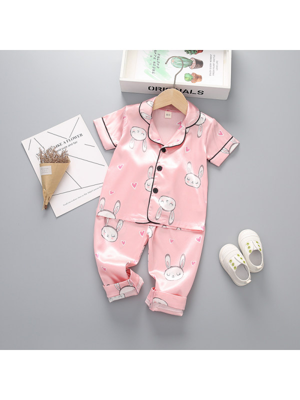 【12M-4Y】Girls Cartoon Print Short-sleeved Top And Trousers Two-piece Suit