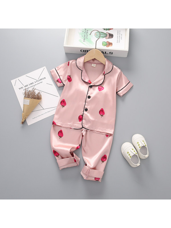 【12M-4Y】Girls Fruit Print Short Sleeve Top and Trousers Two-Piece Set