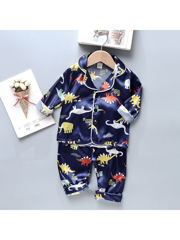 【12M-4Y】Boys Cartoon Print Long-sleeved Home Service Two-piece Suit