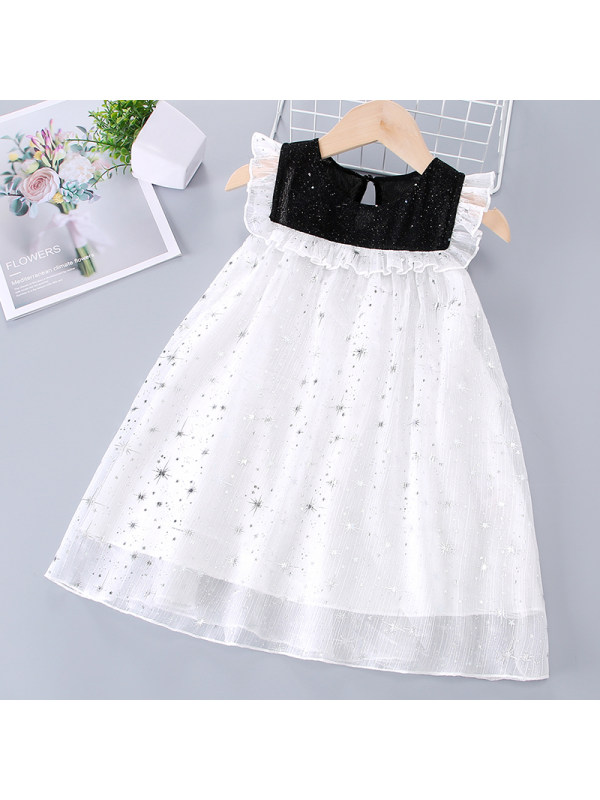 【18M-7Y】Girls Sweet Star Mesh Sleeveless Dress