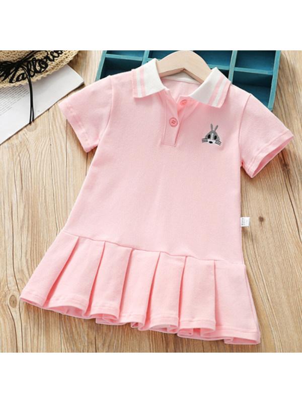 【18M-7Y】Girls Sweet Pink Short Sleeve Dress