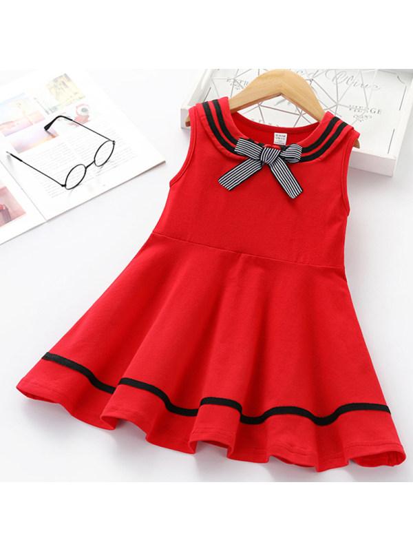 【18M-7Y】Girls Sweet Red Bow Sleeveless Dress