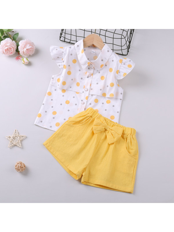【18M-7Y】Girls Polka Dot Printed Top and Shorts Two-Piece Set
