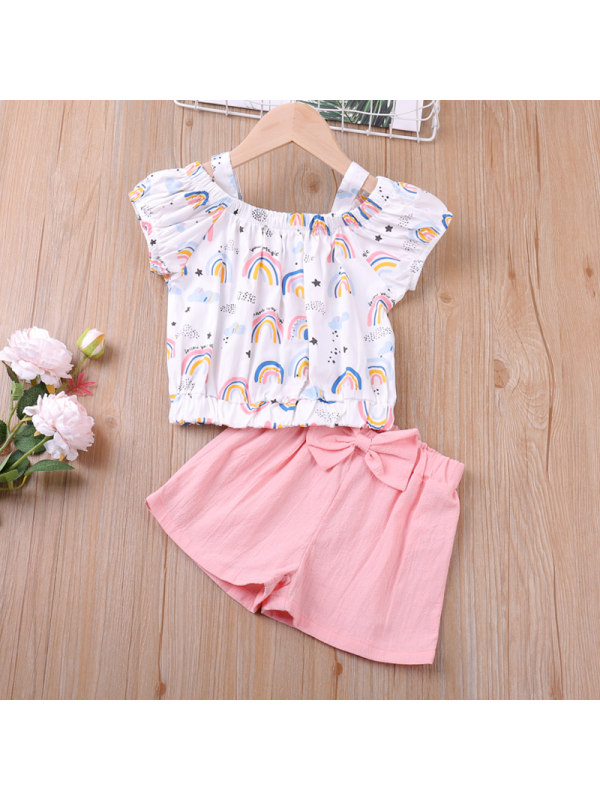 【18M-7Y】Girls Printed Short-sleeved Top and Shorts Two-piece Suit