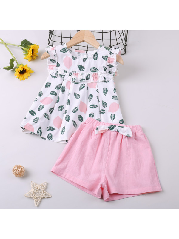 【18M-7Y】Girls Leaf Print Sleeveless Top and Shorts Two-Piece Set