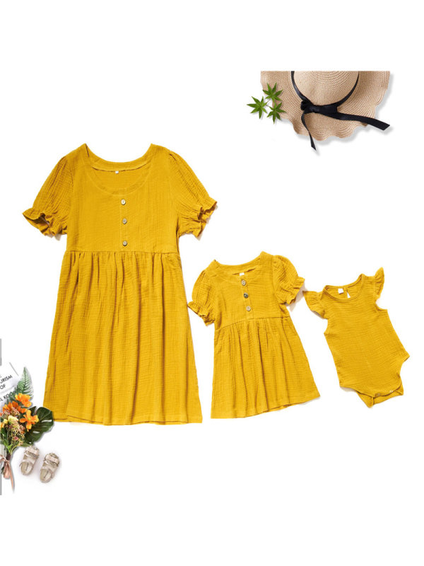 Round Neck Short Sleeve Yellow Mom Girl Matching Dress