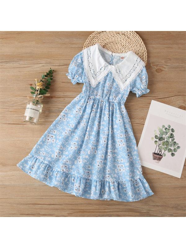 【3Y-13Y】Girls Short-sleeved Lace Stitching Dress