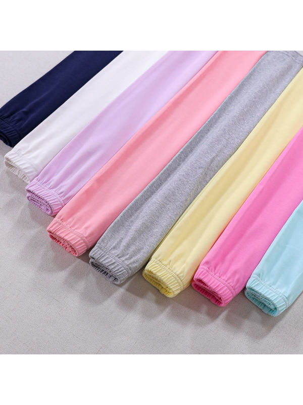 【3Y-13Y】Girls Solid Color Cotton Thin Stretch Leggings
