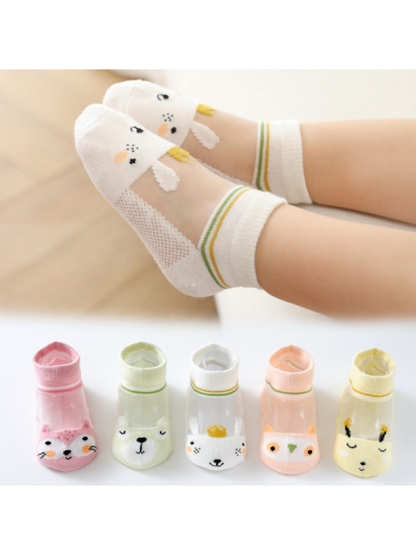 Summer Thin Cute Cartoon Glass Silk Socks