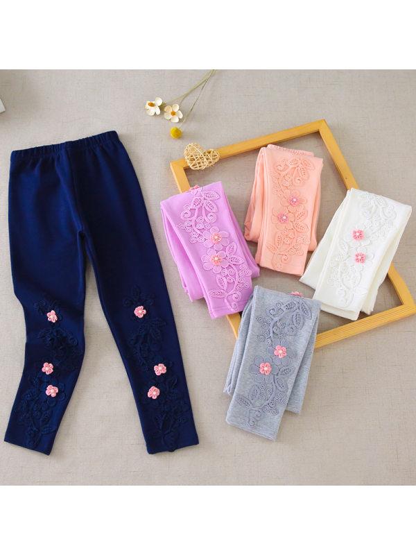 【3Y-11Y】Girls Cotton Stretch Flower Leggings