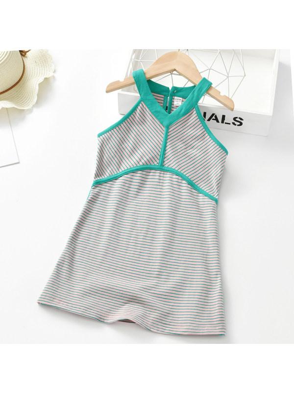 【2Y-9Y】Girl Sweet Green Striped Sleeveless Dress