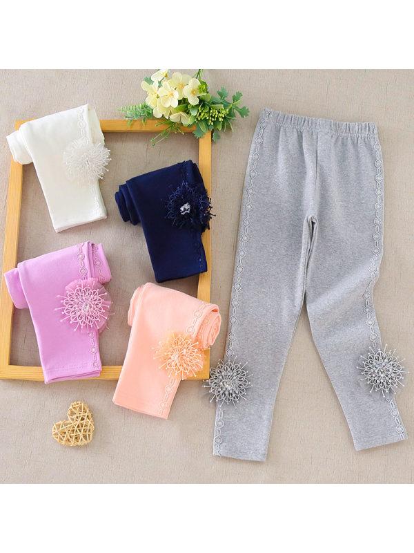 【3Y-11Y】Girl Solid Color Cotton Slim Stretch Leggings
