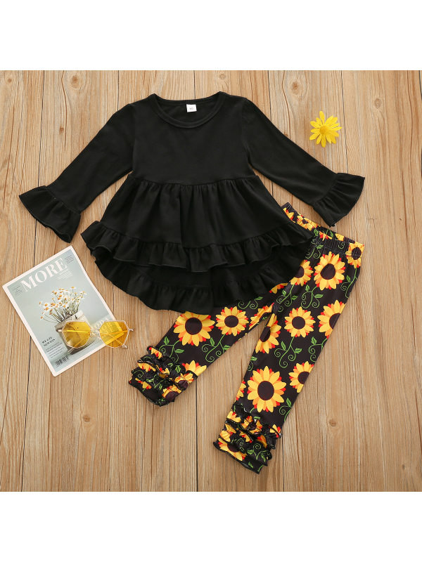 【18M-7Y】Girls Black Blouse and Printed Pants Two-piece Set