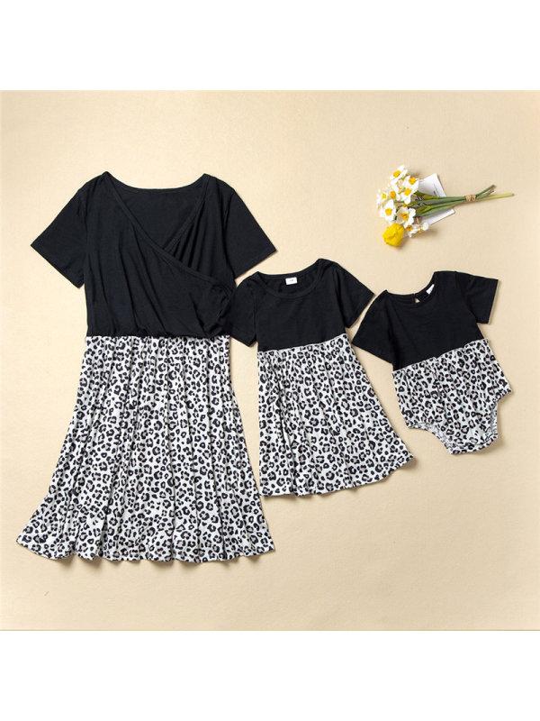 Casual Short-sleeved Leopard Print Mom Girl Matching Dress