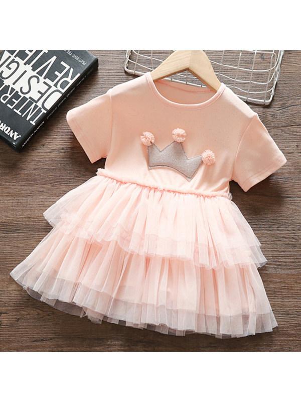 【12M-5Y】Girls Sweet Pink Mesh Dress