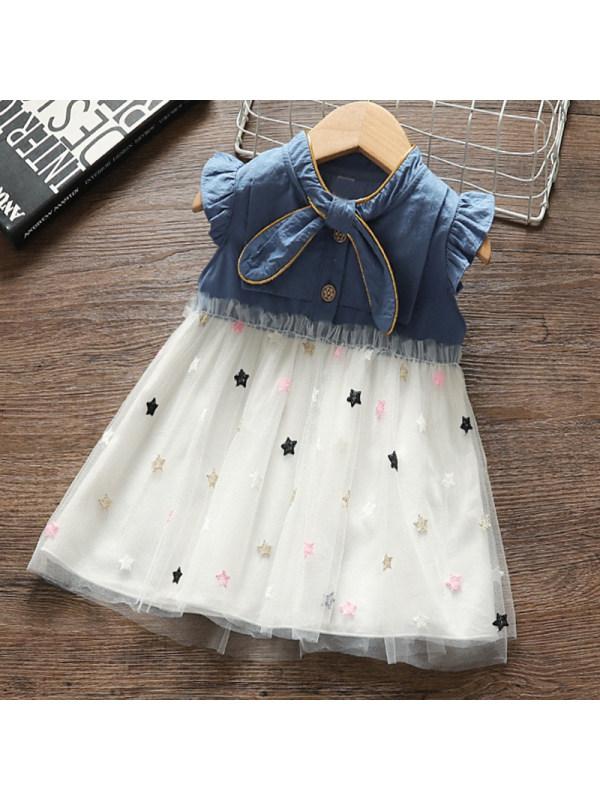 【12M-3.5Y】Girl Sweet Denim Mesh Dress