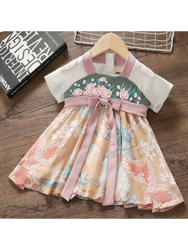 【12M-5Y】Girl Sweet Floral Short Sleeve Dress