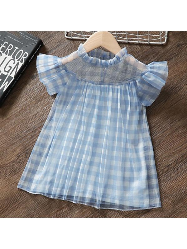 【12M-5Y】Girls Sweet Blue Plaid Mesh Dress