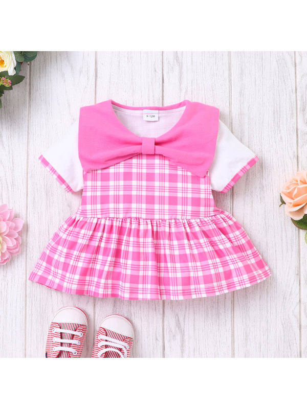 【6M-24M】Infant Summer Short-sleeved Bow Check Suit