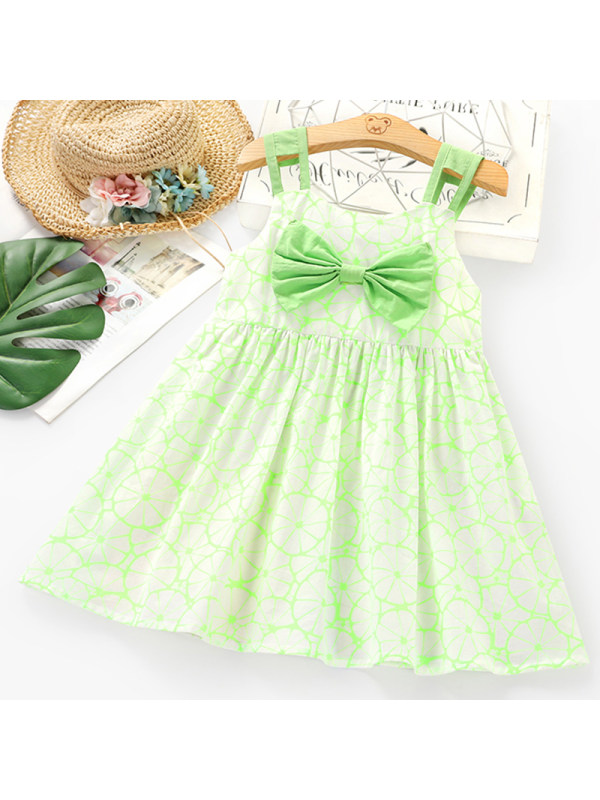 【2Y-9Y】Girls Sweet Green Sleeveless Dress