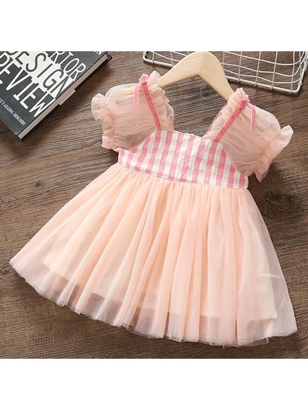 【12M-5Y】Girls Sweet Pink Plaid Mesh Dress