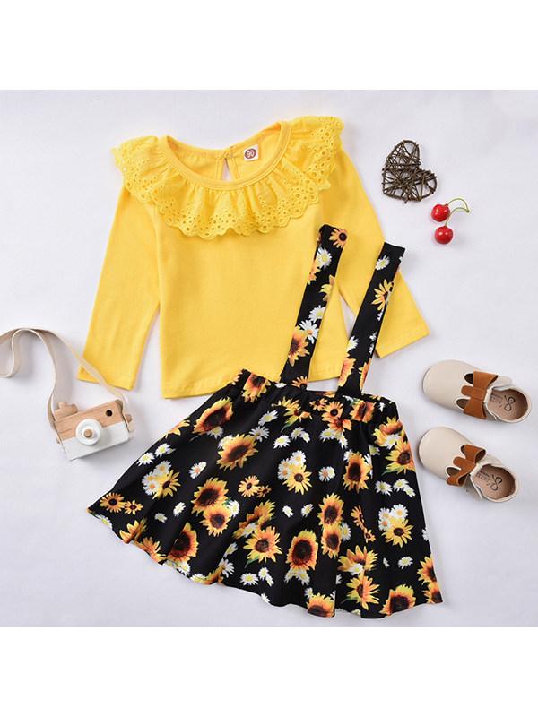 【18M-7Y】Girls Lace Round Neck Long Sleeve Print Sunflower Strap Dress Set