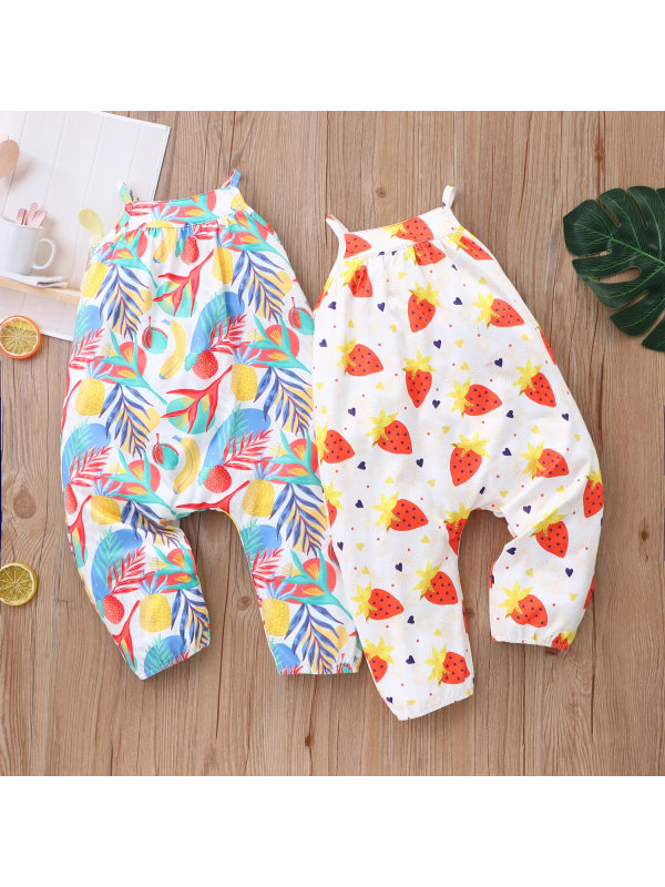 【6M-24M】Children's Summer Sling And Fruit Print One-piece Romper