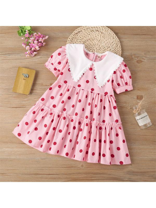 【3Y-13Y】Girls Lapel Casual Short-sleeved Dress