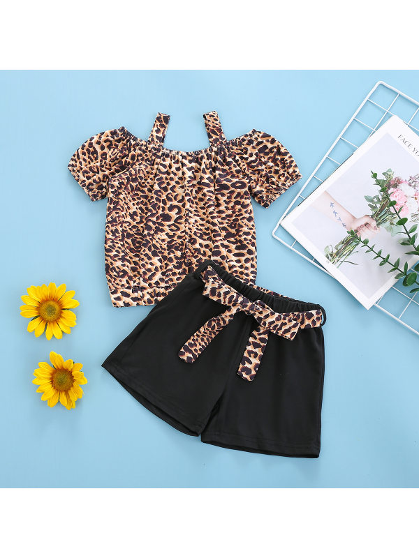 【18M-7Y】Girls Leopard Print Top and Shorts Suit