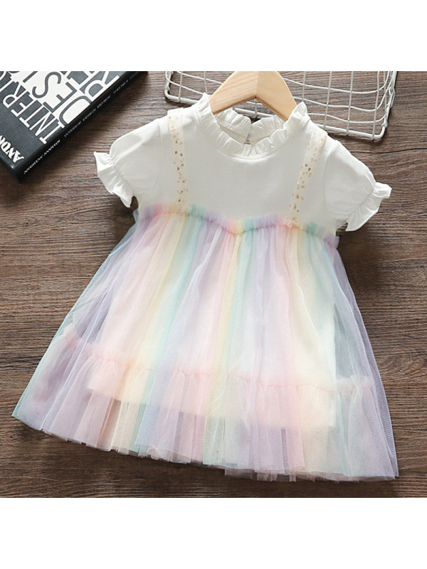【12M-5Y】Girls Sweet Color Mesh Short Sleeve Dress