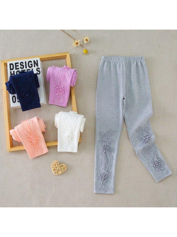【3Y-11Y】Girls Solid Color Cotton Lace Leggings