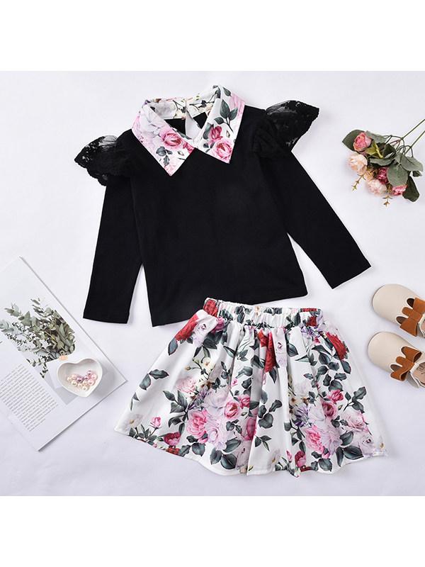 【18M-7Y】Girls' Lace Flying Sleeve Lapel Top Printed Skirt Set