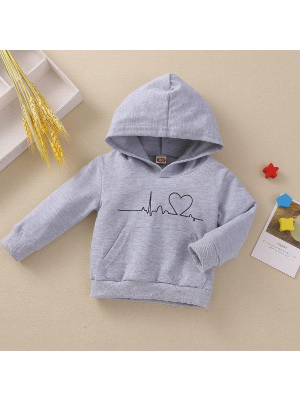 【6M-24M】Children's Hooded Cardiogram Printed Loose Sweatshirt